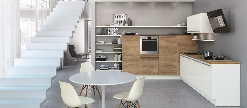Un exemple de cuisine américaine ergonomique par Cuisines Aviva. Cuisine contemporaine à  3 490,00 € (Electroménagers inclus)
